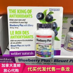 Webber Naturals 伟博 蓝莓护眼 Blueberry Plus wIth Bilberry 500mg/50mg 120tablets